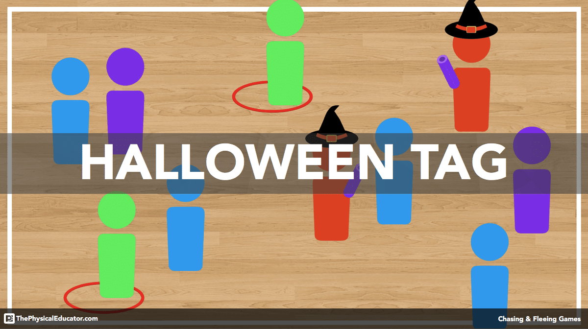 halloween tag chasing and fleeing physical education game