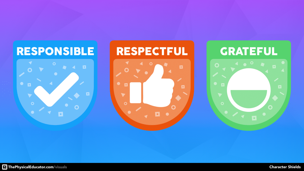 Behaviour Expectations Character Shields for Physical Education